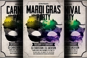 Carnival & Mardi Gras Party Flyer