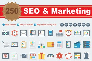 SEO & Marketing Flat Paper Icons
