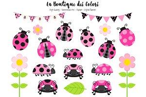 Pink Ladybug Clipart