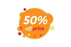 Sale Round Banner. 50 Percent Off Price Discount
