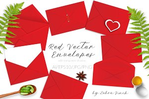 Red Vector Envelopes