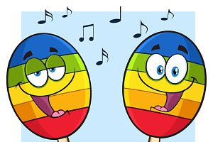 Two Mexican Maracas With Notes