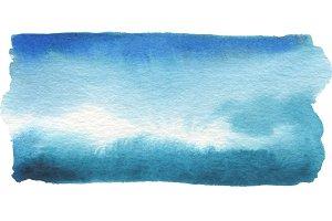 watercolor blue blot