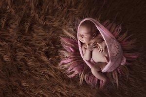 newborn baby girl on wool background