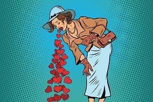 Beautiful retro woman vomiting Valentines heart