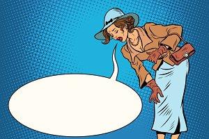 Beautiful retro woman vomiting review comic bubble