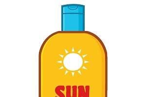 Bottle Sunscreen With Text Sun Cream