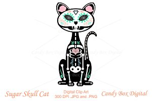 Sugar Skull Cat Clip Art