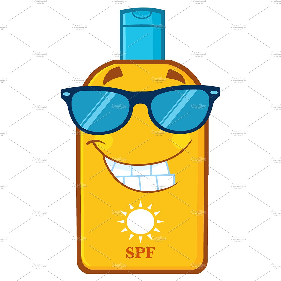 Bottle Sunscreen With Sunglasses ~ Illustrations ...