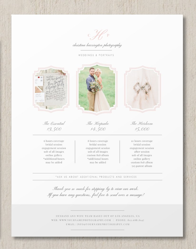 Wedding Photography Business Names: Price List Template