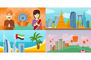 Set of touristic concept vectors in Flat Design