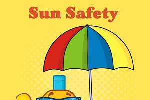 Smiling Bottle Sunscreen And Text