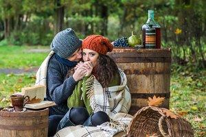 Romantic happy couple at fall