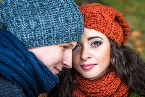 Closeup portrait romantic happy couple at fall