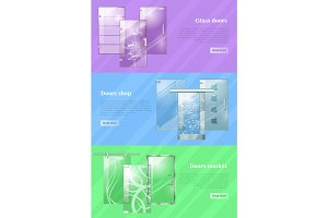 Glass Doors Shops and Markets Colourful Web Banner