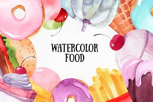 Watercolor food collection