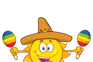 Happy Sun With Sombrero Hat