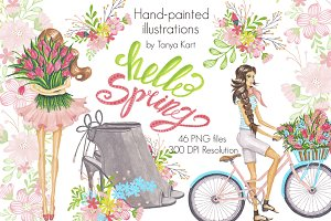 Spring Floral Hand-painted clipart