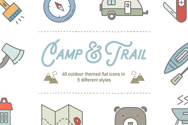 Camp & Trail Vector Recreation Icon…