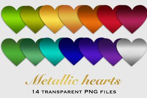Metallic hearts clipart