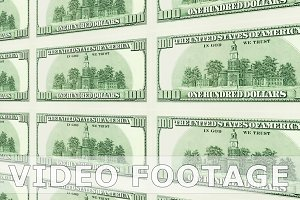 Reverse side of 100 dollar bills in 3d perspective