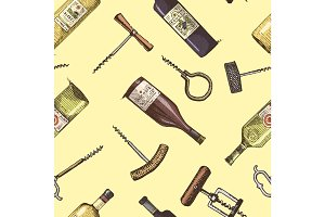 Seamless background with corkscrew and wine bottles engraved vintage pattern.