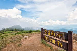 Nameplate of Phu Chi Fa Viewpoint