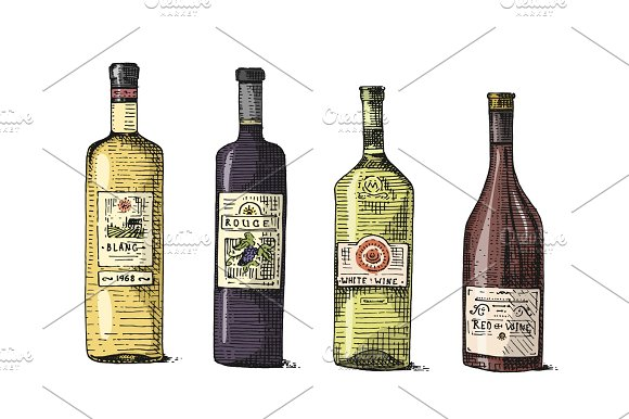 Wine Bottle Hand Drawn Engraved Old Looking Vintage Illustration Illustrations Creative Market