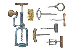 Big set of corkscrew in vintage old engraving style, hand drawn in scratchboard