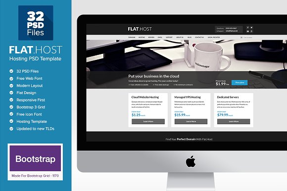 Flat Host - Web Hosting PSD Template ~ Website Templates ~ Creative ...