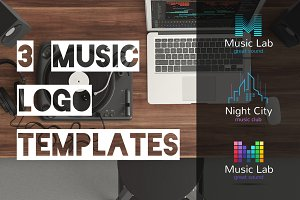 Music Beat. 3 Logos Set