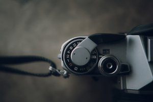 Close up of old film camera