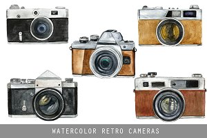 Watercolor Retro Cameras