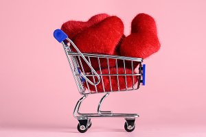 Shopping cart with hearts