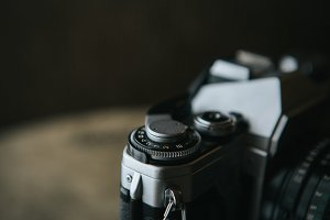 Close up of an old film camera