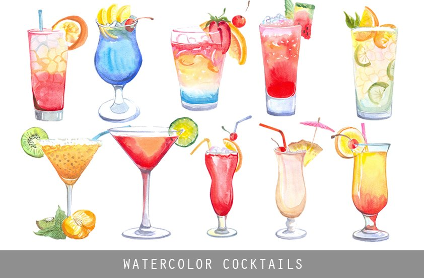 watercolor cocktails illustrations creative market