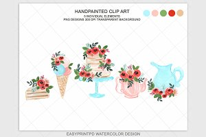 Watercolor High Tea Wedding Clipart
