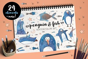 Penguin and Fish Watercolor Set