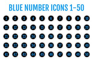 Blue Number Icons 1-50
