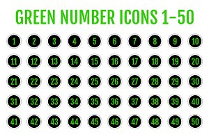 GREEN Number Icons 1-50