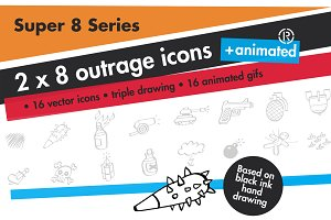 16 outrage vector icons