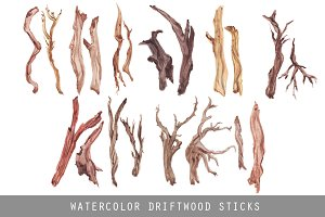 Watercolor Driftwood Sticks