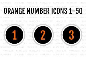 Orange Number Icons 1-50