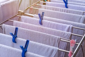 white towel on clothesline