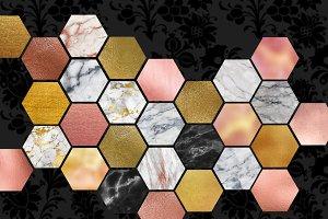 Marble Gold Hexagon Clipart