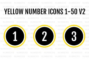 Yellow Number Icons 1-50 v2