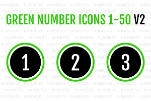 Green Number Icons 1-50 v2