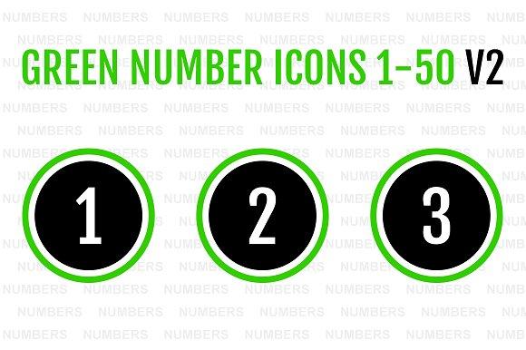 Green Number Icons 1-50 V2