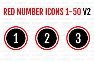 Red Number Icons 1-50 v2