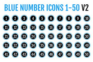 Blue Number Icons 1-50 v2